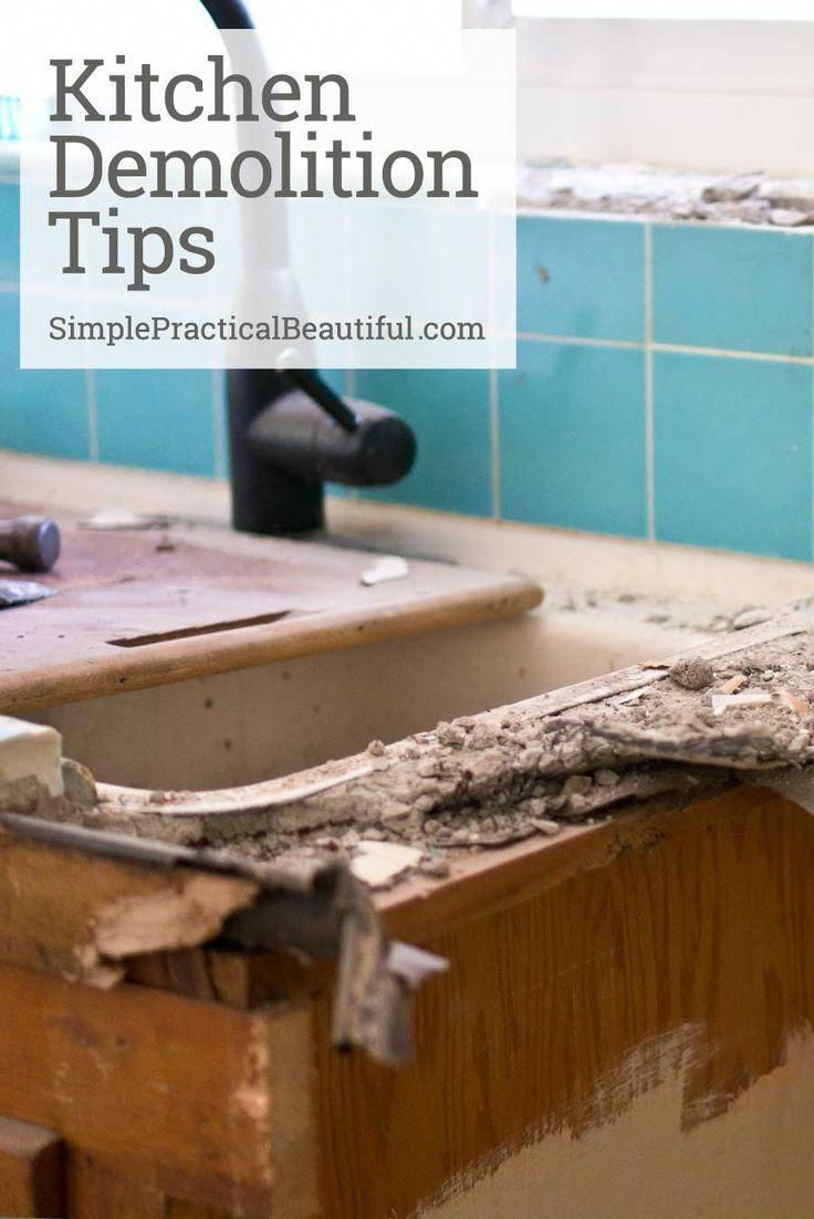 Kitchen Demolition Tips How To Demo A Kitchen Removing Tile Tearing Out Kitchen Cabinets Repairing A Wall Kitchen R Conseils De Nettoyage Diy A Table