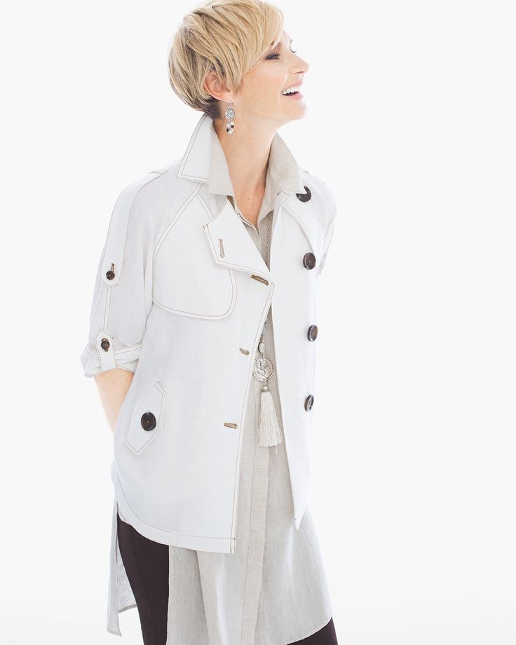 Cropped Linen Trench