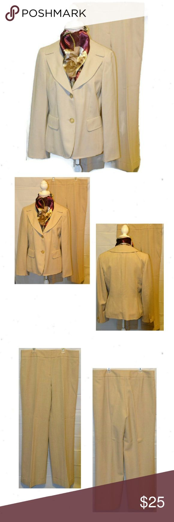Loft Wool Pantsuit with Chevron Detail. Loft Cream Chevron Pant Suit. Size 12. 100% Wool.  Lined. Blazer has  notched collar, two front flap faux pockets,  two. button closure. Measurements:  Shoulder 17, UA 20, Sleeve 24, L24. Pants are wide leg with hemline cuffs. faux cuffs. Button hook closure. Meassurements:  L40, I 30, R10, W34. LOFT Jackets & Coats Blazers