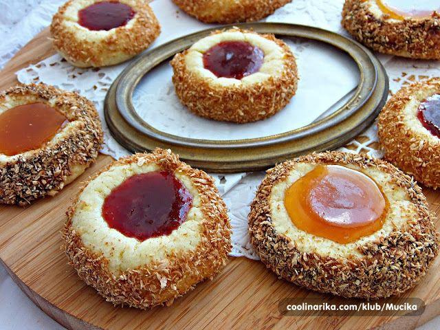 Koláčiky s kokosom a džemom | Božské recepty