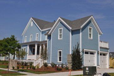 Daniel island traditional exterior charleston jacksonbuilt custom homes benjamin moore - Jamestown blue paint color ...