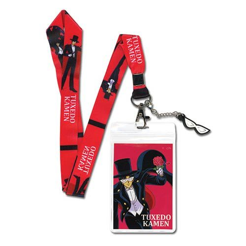 Perfect for holding convention IDs or everyday wear, it's the Sailor Moon Tuxedo Mask Lanyard Key Chain! The red lanyard features the psychic older student who fights alongside the Sailor Soldiers when needed. The lanyard even features Tuxedo Mask's white mask as a charm!