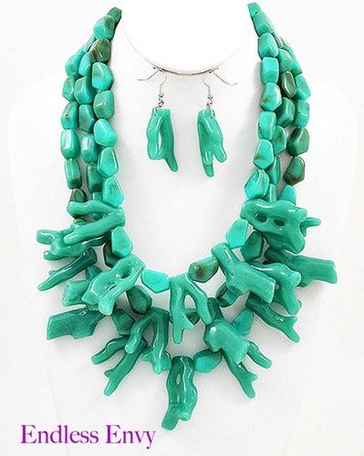 Chunky Layered Turquoise Coral Reef Bib Statement Necklace & Earrings #Fashion #Coral #Necklace #Jewelry