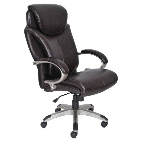 Serta AIR Health & Wellness Big and Tall Eco-friendly Bonded Leather Executive Office Chair - Roasted Chestnut