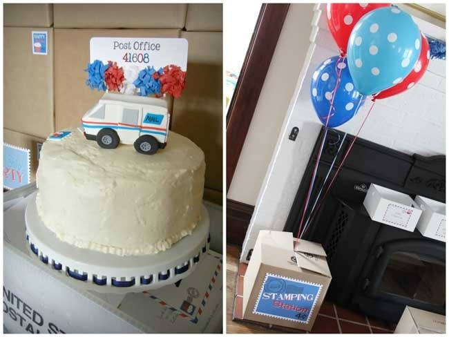 Mailman Themed Birthday Party Dessert Table - Very cool ideas for a mail party