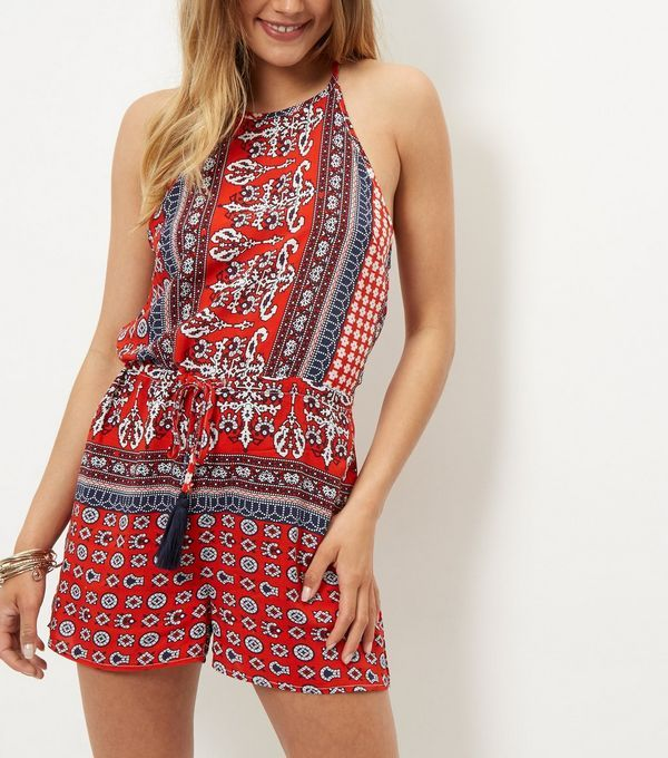 Parisian Red Tile Print Halter Neck Playsuit | New Look