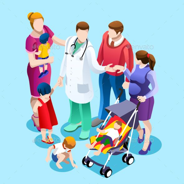 Family Doctor Talking with Patients Vector Isometric People