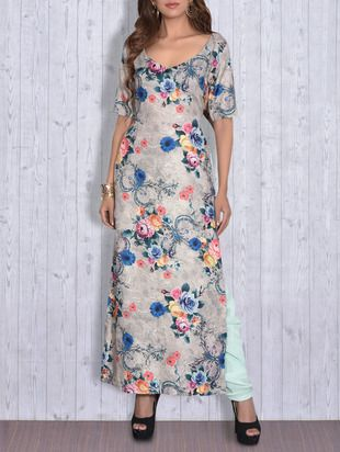 Buy Grey Floral Printed Kurti With Side Slits by Blink By S - Online shopping for Kurtas in India | 9630699
