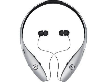 LG - Tone Infinim Wireless Earbud Headphones - Metallic Silver - Larger Front