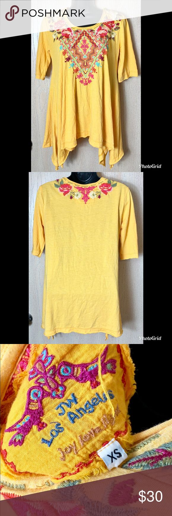 JW Los Angeles Yellow Embroidered Top Sz XS JW Los Angeles