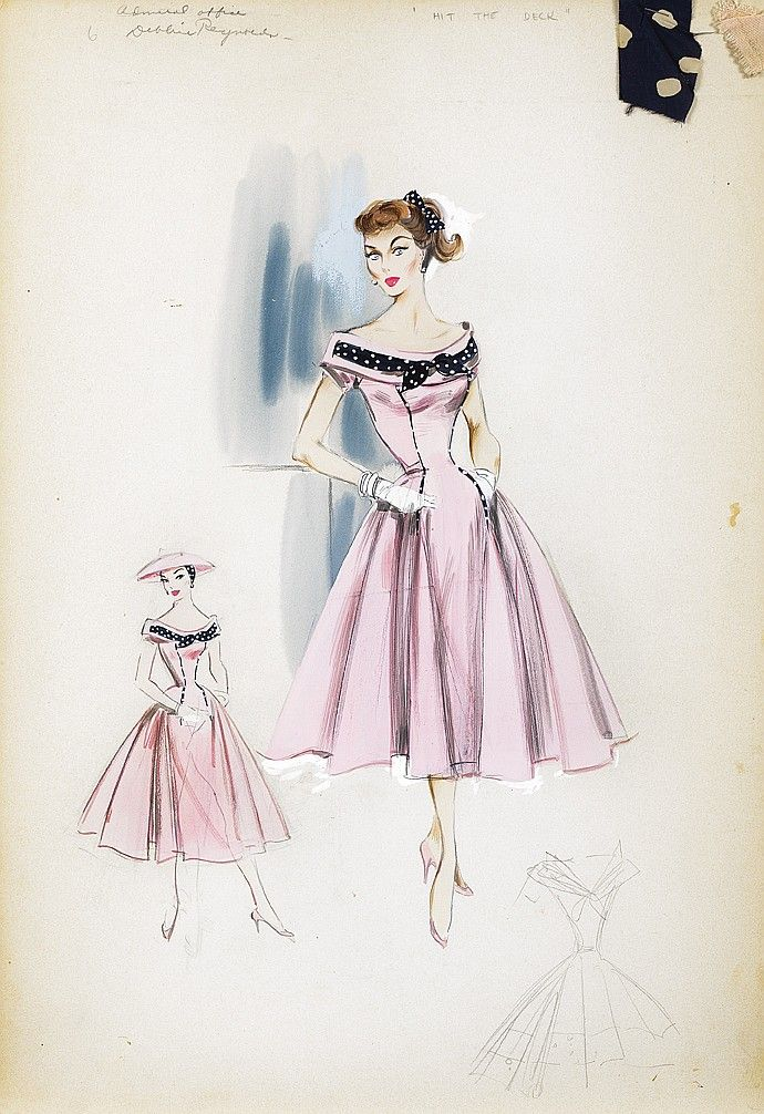 """Helen Rose costume sketch of Debbie Reynolds in """"Hit the Deck""""  Debbie Reynolds - The Auction Finale Day 1 - Profiles in History"""