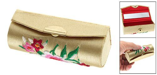 """Yellow Flowered Embroider Lipstick Makeup Box Case. Emperor Yellow Flowered Embroider Lipstick Box Case. Designed with gold clip button, easy to insert and remove. Weight: 24g. Size: approx. 3 3/8"""" × 1 1/4"""" × 1 1/4"""" (L*W*H). Package Contents: 1 × Flowered Purse Case."""