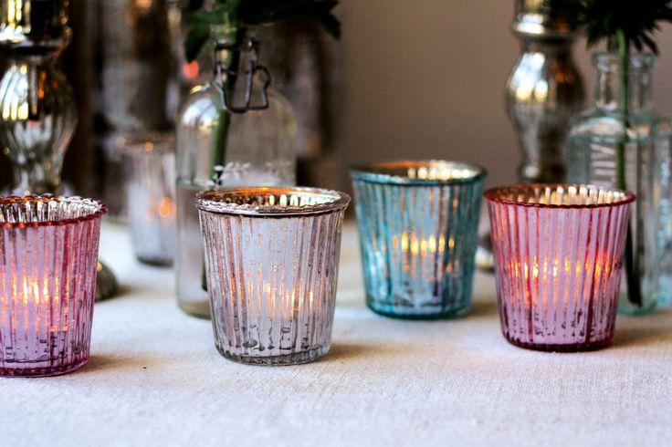 Mercury glass tea light holders, The Wedding Of My Dreams, Rs 290; Theweddingofmydreams.co.uk