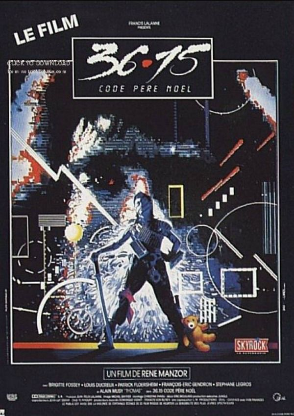 Film d'horreur français Game Over / 3615 Code Père Noël (1986). Themes: horror, action, thriller, video games, Santa Claus, Père Noël, child home alone, killer santa, Christmas, Christmas Eve, René Manzor