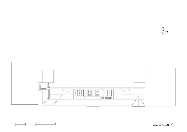 Het ontwerp voorziet in veel aanpasbare ruimte, permanent of tijdelijk; leesruimtes, stille studiezalen, speelplekken en onthaalfuncties 0402BLAN stam.be