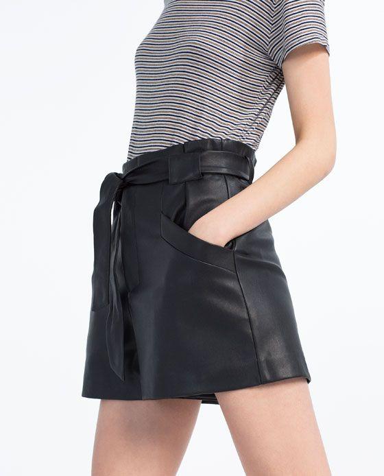 cortos de de de imitación Pantalones las mujeres cuero YHWD29IE