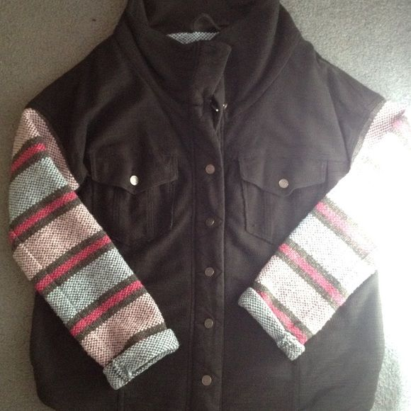 Free People Baja Jacket sz s Black with woven colorful sleeves in sz small...super cute, new wo tag Free People Jackets & Coats
