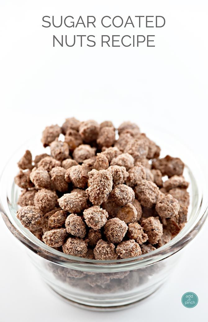 Sugar Coated Nuts Recipe - Amazing for gatherings at home, but perfect for showers, parties and more! Simple yet delicious! from addapinch.com