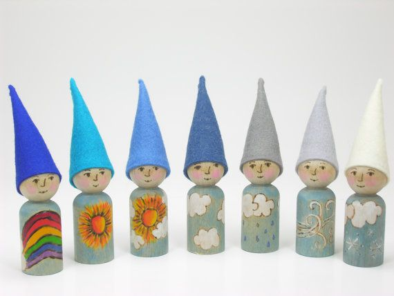 Set of 7 Weather gnomes with faces, wooden peg doll, wool felt toy, handmade children's toy, Waldorf Inspired, Nature Table, Natural toy