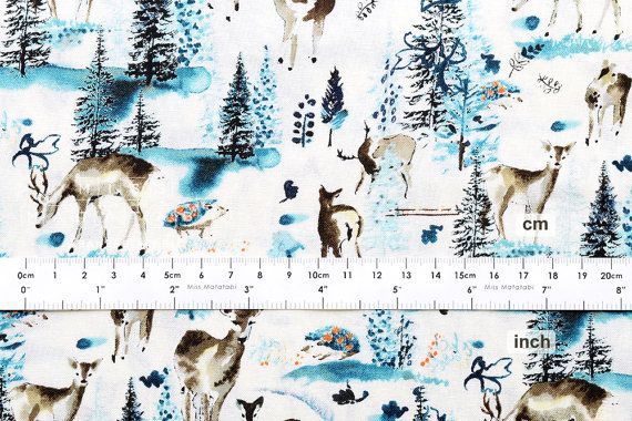 Japanese Fabric Winter Forest blue 50cm