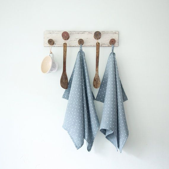 Blue Tea Towels with Polka Dots made of natural softened linen