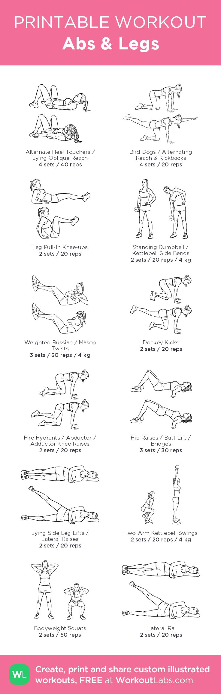 Abs & Legs –illustrated exercise plan created at WorkoutLabs.com • Click for a printable PDF and to build your own #customworkout