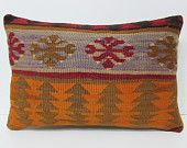 kilim lumbar pillow 16x24 turkish cushion cover hippie pillow cover tribal tapestry wool rug outdoor decor vintage cushion orange rug 22270