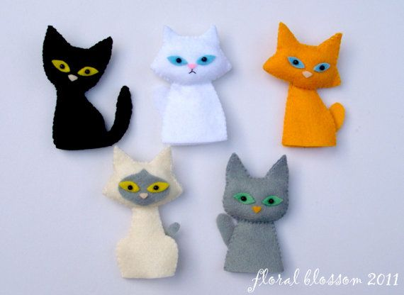 PDF Pattern Cat Gang Felt Finger Puppets by FloralBlossom on Etsy, $5.00