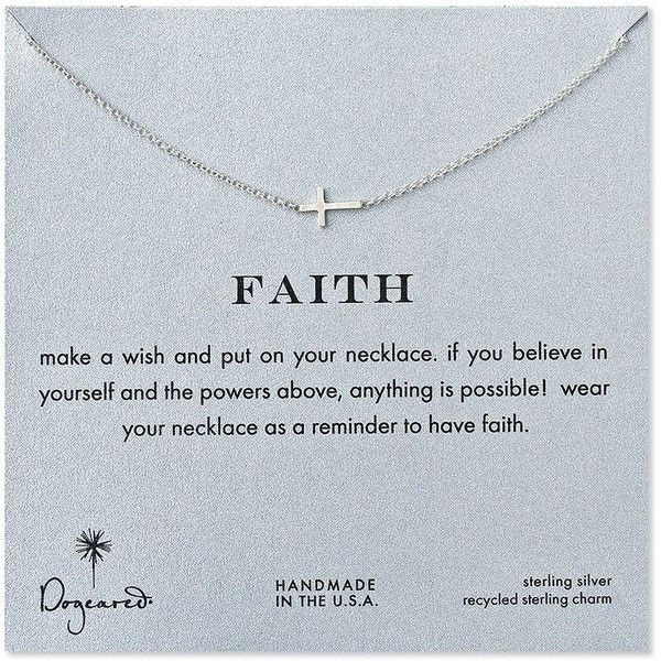 Dogeared Faith Sideways Cross Necklace (£41) ❤ liked on Polyvore featuring jewelry, necklaces, gold, sideways cross necklaces, dogeared jewelry, side cross jewelry, side cross necklace and dogeared necklaces