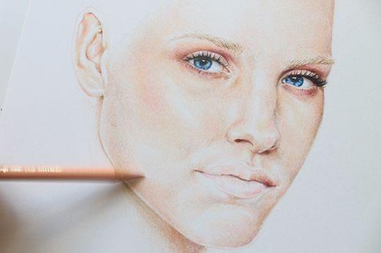 Malerei eine farbige Bleistiftporträt Schritt                                                                                                                                                                                 More