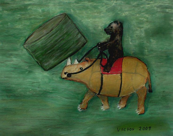 Nalle kör höbalar, pastell på papper. Nalle drives hay bales, pastel on paper.