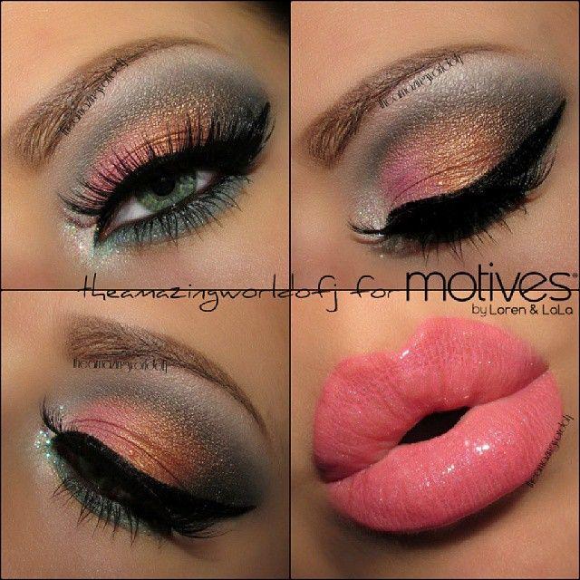 Black And Pink Kiss Makeup: Pretty Colorful Autumn Smoky Eye