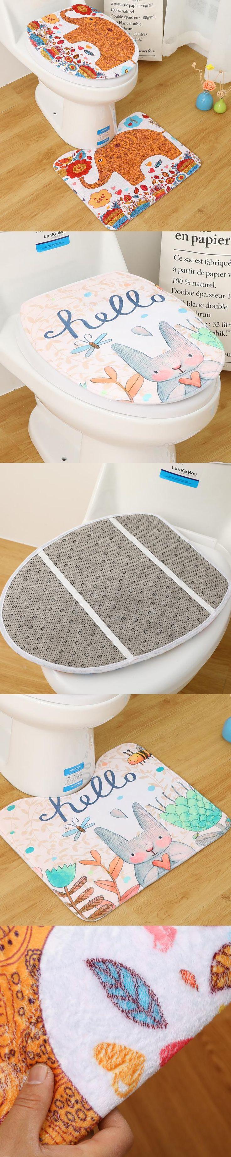 Honlaker Fashion Cartoon U Shaped Toilet Bathroom Mat Toilet Seat Cover Decoration