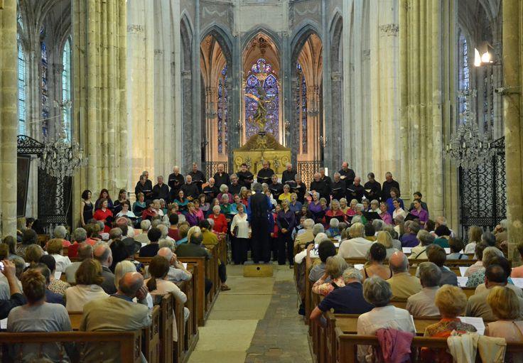 Birmingham Festival Choral Society singing on tour in St Julien du Sault. Yonne, Burgundy, France.