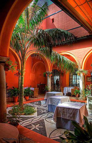 Patio dining area in the Parador, Arcos de la Frontera, Spain.