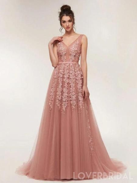 0682e3acbe7 Dusty Pink V Neck Lace Beaded Long Evening Prom Dresses