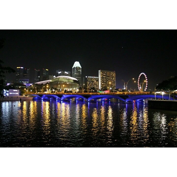 City lights in Singapore. I saw Esplanade, Singapore Flyer, and skyscrapers.