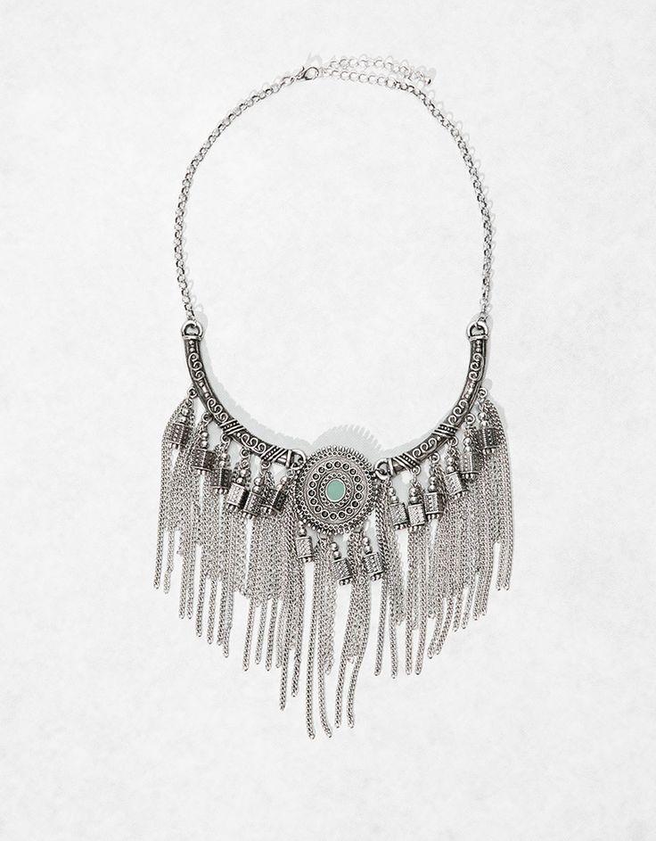 Metallic fringe and stone necklace - Accesories girl - Bershka Switzerland