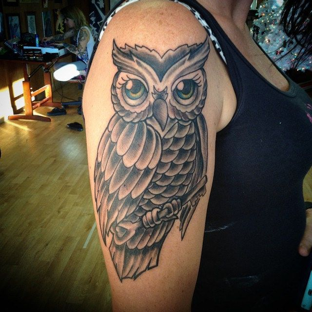Owl tattoo Made today. #traditional