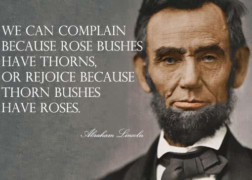 We can complain because rose bushes have thorns or rejoice because thorn bushes have roses. -Abraham Lincoln