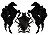 The Winged Horse Pub  Black Winged Horses With Heraldic Shield And Crown Royalty Free Cliparts, Vectors, And Stock Illustration. Image 16410045.