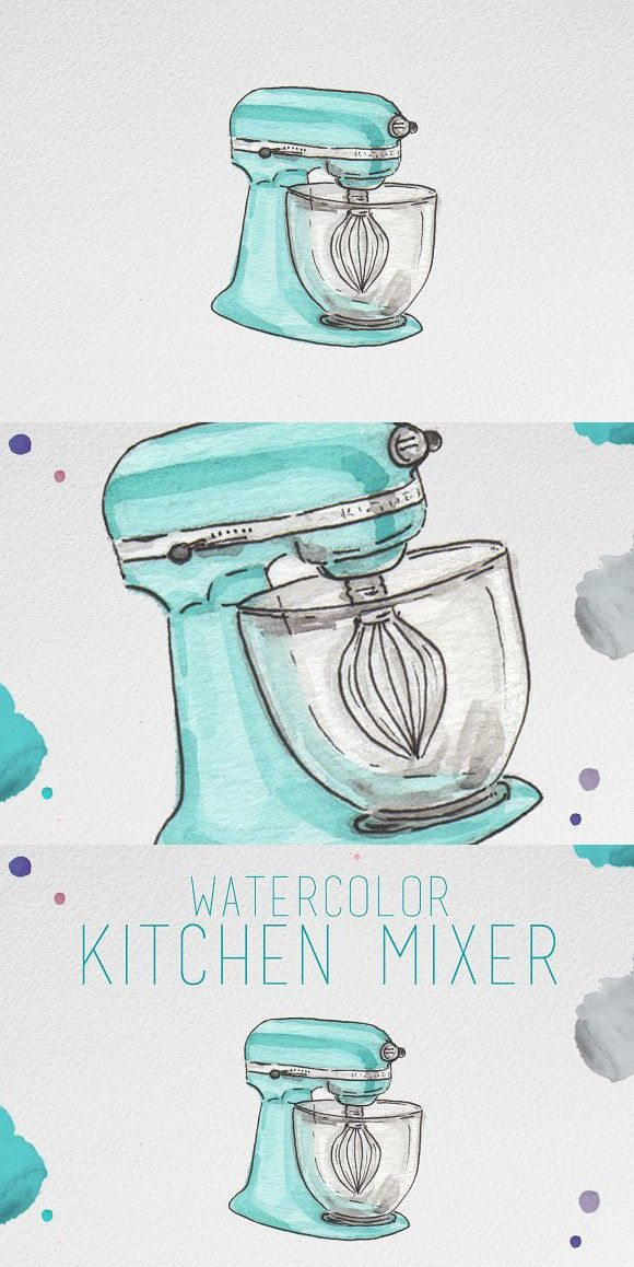 Watercolor Kitchen Mixer Watercolor Kitchen Mixer Bullet
