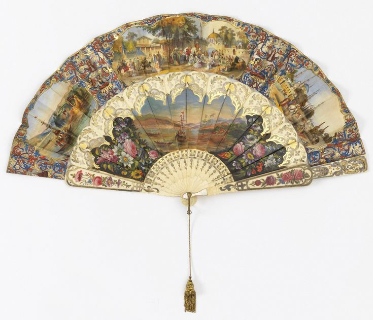 Pleated fan. Paper leaf with chromolithograph showing decorative designs and Turkish scenes. Obverse, from left: the Bosphorus with the sultan's barge; figure smoking a hookah; a slave market in Constantinople, after engraving by Thomas Allom; a woman with fan, the hippodrome, with mosque of Achmet, column of Constantine and Egyptian obelisk. Pierced and gilded ivory sticks painted with flowers and nautical scene. Gilt bail, chain and tassel.