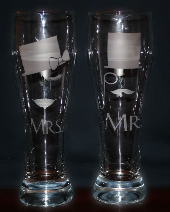 Hipster Mr Mrs Bride Groom Pint Beer Glasses by LuckyBeeDesigns