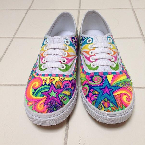 Shooting Star Sneakers — kelseyland   #star #doodle #vans #swirls #rainbow #handpainted #art #shoes #sneakers #color