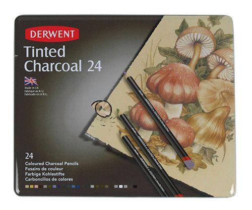 Zestaw węgli kolorowych Derwent w kredce - 24 kolorów SZAŁ DLA PLASTYKÓW - Profesjonalny Sklep Plastyczny