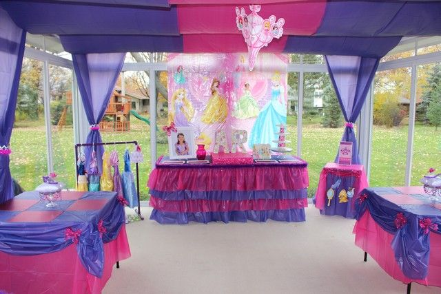 Perfect theme for Isabella's 3rd birthday! Plastic tablecloth rolls for  draping is genius and cheap!!!