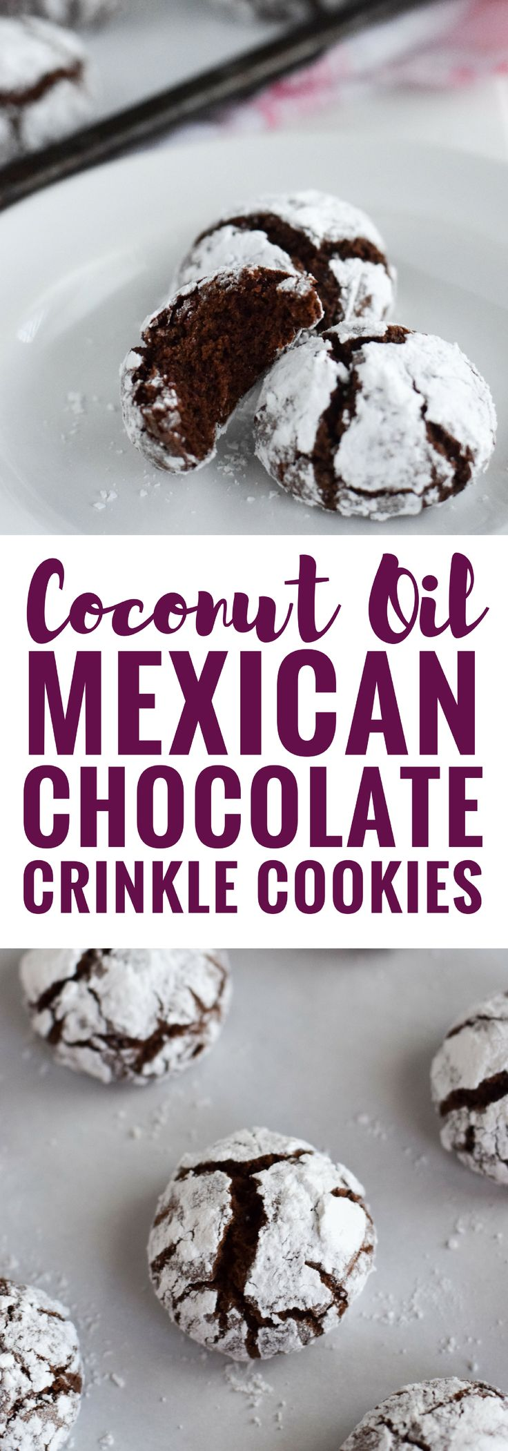 Classic holiday Chocolate Crinkle Cookies with a twist! Made with coconut oil and Abuelita Mexican chocolate, these festive cookies are soft, chewy and covered in powdered sugar.