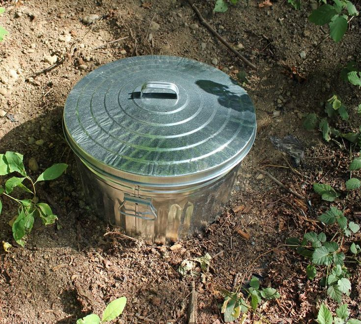 Composting System.  The metal garbage can is punched out with holes in the bottom and sides and buried in the ground covering all the holes.  Throw in table scraps and layer leaves or grass.  Put the lid back on and wait a year.
