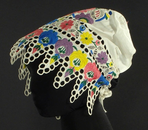 Antique Embroidered Bonnet Slovak Folk Costume Ethnic Wedding Cap Kroj Floral